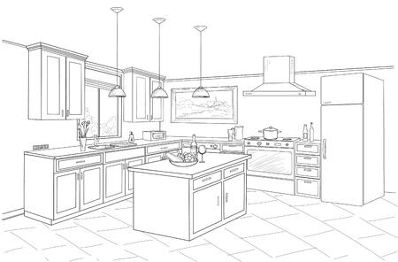 Overzicht blauwdruk ontwerp van keuken met moderne meubels en eiland