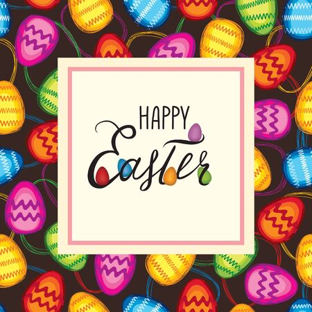 Happy Easter greeting card. Spring holiday decorative bakground with Easter eggs Illustration