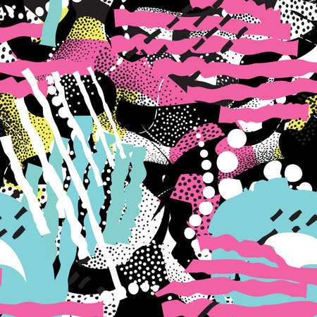 Abstract blot seamless pattern. Black dotted line painted spotted tile background. Stylish hand drawn artistic wallpaper in 1980s style