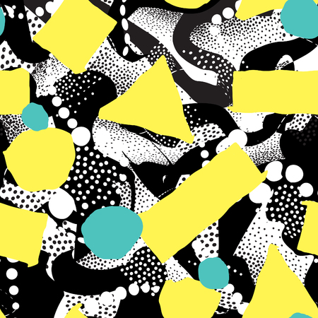 Abstract blot seamless pattern. Black dotted painting. Spotted tile background. Stylish artistic wallpaper in 1980s style