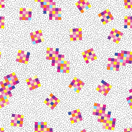 Abstract pixel geometric seamless pattern. Stylish dotted background in electronic style