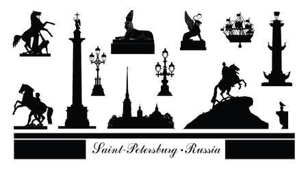 St. Petersburg city symbol set, Russia. Tourist landmark icon collection. Russian famous place in Saint-Petersburg