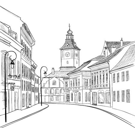 Straße in der Altstadt. Stadtbild - Häuser, Gebäude auf Gasse. Blick auf die Altstadt. Mittelalterliche europäische Burglandschaft. Handgezeichnete Skizze