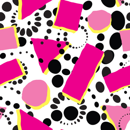 Abstract seamless pattern with blots and dots. Geometric dotted background Illustration