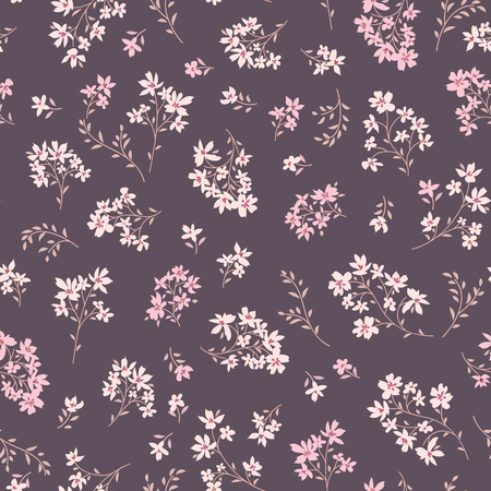 Floral seamless pattern. Abstract ornamental flowers. Flourish leaves background