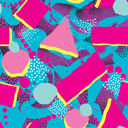 Abstract geometric seamless pattern. Dotted painting. Spotted tile background. Stylish artistic wallpaper in 1980s style