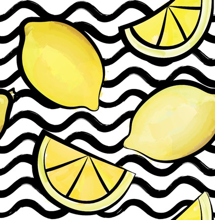 Abstract wave seamless pattern with lemon. Stylish geometric background. Fruit ornamental wallpaper. Tropical food stripe texture