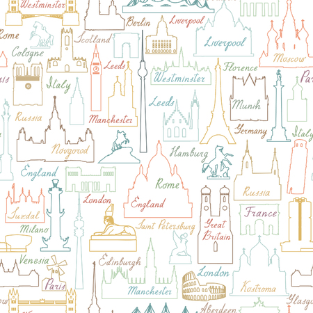 Travel world landmarks seamless pattern. Travel sight icon tile background