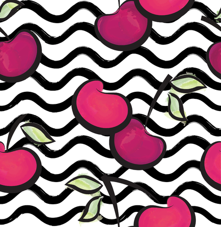 Abstract wave seamless pattern with cherry. Stylish berry geometric background. Fruit ornamental wallpaper. Tropical food stripe texture