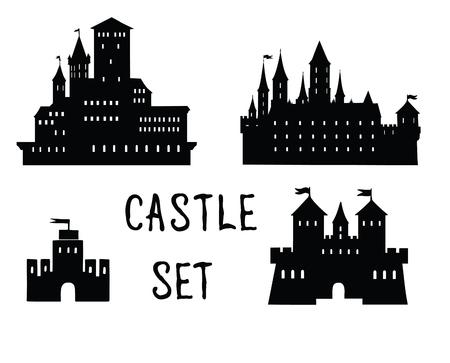 Castle icon set. Doodle castle building view with tower, handwritten lettering CASTLE