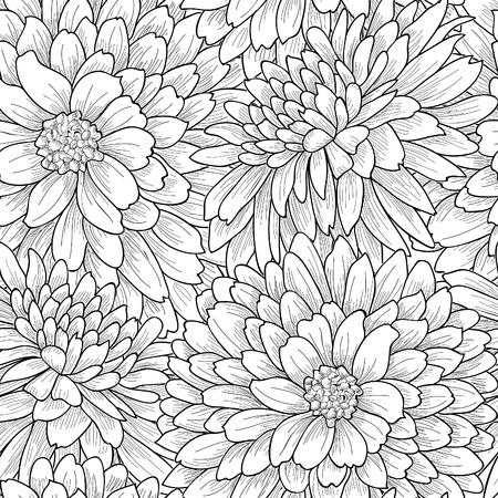 Floral seamless pattern. Flower chrysanthemum background. Flourish garden texture with flowers.