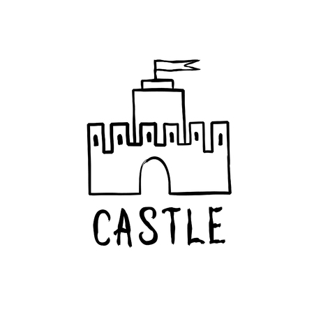 Castle icon. Hand drawn doodle castle building isolated with handwritten lettering CASTLE