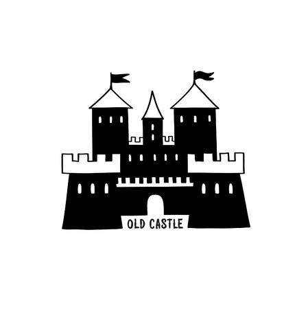 Castle icon. Doodle castle building view with tower, handwritten lettering CASTLE