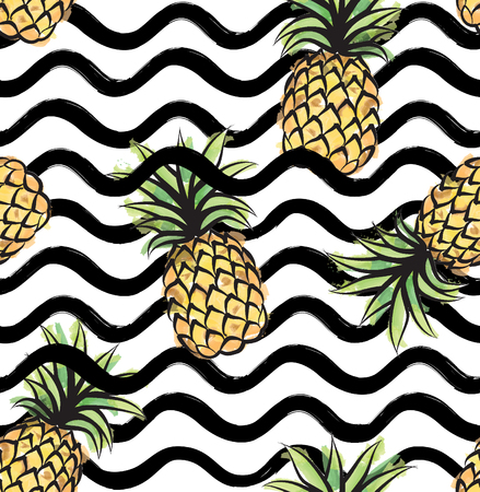Abstract wave seamless pattern with pineapple. Stylish geometric background. Fruit ornamental wallpaper. Tropical food stripe texture. Illustration