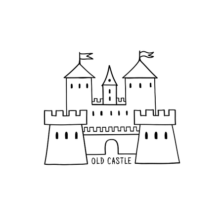 Castle icon. Hand drawn doodle castle building isolated with handwritten lettering CASTLE.
