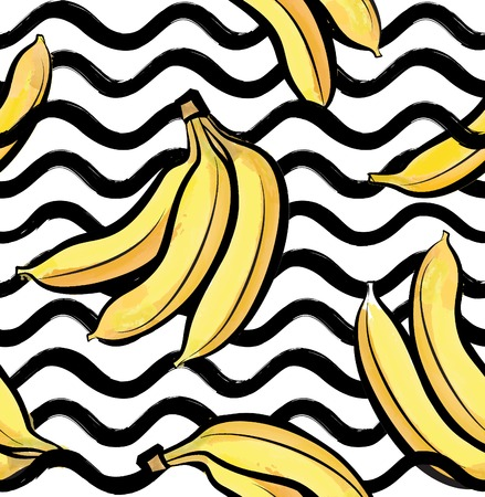 Abstract wave seamless pattern with banana Stylish berry geometric background. Fruit ornamental wallpaper. Tropical food stripe texture.