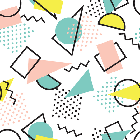Abstract seamless pattern with blots and dots. Geometric dotted background. Ornamental white background in 1980s style.
