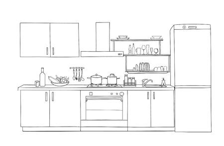 Interior sketch of kitchen room. Outline blueprint design of kitchen with modern furniture