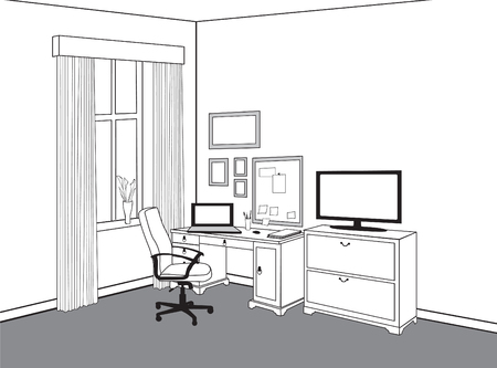 Workplace with computer. Workspace view home office. Modern office cabinet room interior furniture.