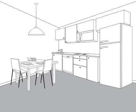 Interior sketch of kitchen room. Outline blueprint design of kitchen with modern furniture and dining table Illustration