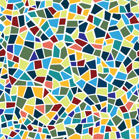 Abstract mosaic sheet seamless pattern. Geometric form chaotic blot tile background. Ceramic fragment decorative backdrop