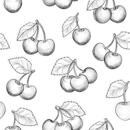 Fresh cherry seamless pattern. Summer berry food sketch background