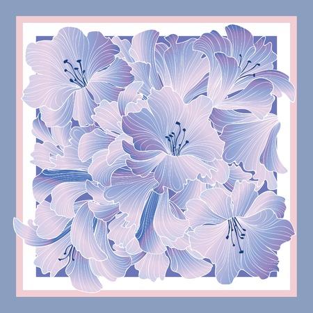 Floral pattern decor for silk tiussiue. Delicate color flower decor for square shape scarf. Batic technique flowering background Illustration