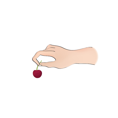 Cherry on top. Hand holding berry over white background. Cooking dessert sign. Bonus icon