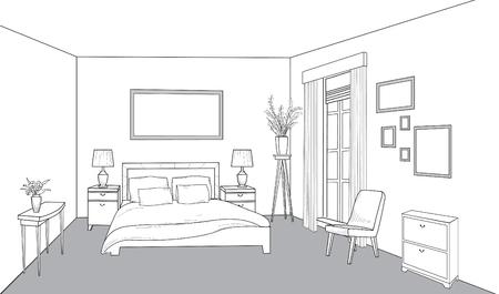 Bedroom furniture. Bed room view. Modern interior outline blueprint