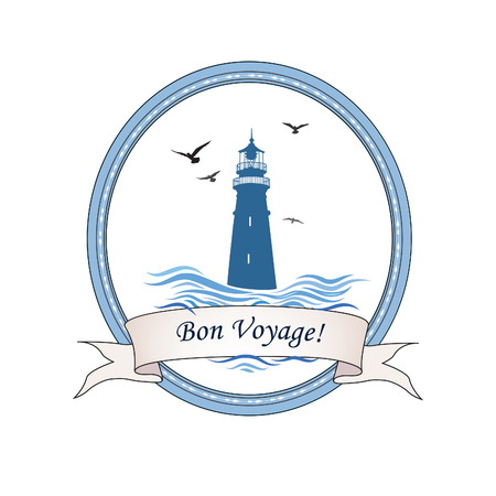 Lighthouse logo. Nautical icon with lighthouse, ocean waves, gull birds. Travel voyage card design 矢量图像