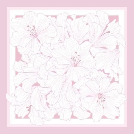 Floral pattern decor for silk tiussiue. Delicate color flower decor for square shape scarf. Batic technique flowering background Vector Illustration