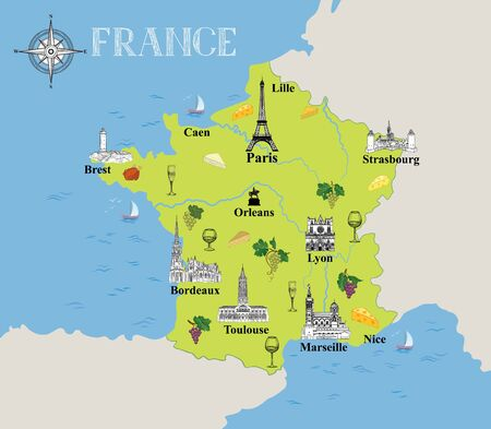 Touristic map of France. Travel background with marked french gastronomic destinations and architectural landmarks icons in hand drawn retro style