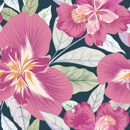 Floral seamless pattern.  Flower background. Flourish garden texture with flowers and leaves ornament. Flourish nature garden textured wallpaper