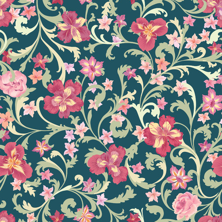 Floral seamless pattern. Flower background. Flourish garden texture with flowers and leaves ornament. Flourish nature garden textured background
