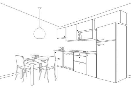 3D interior sketch of kitchen room. Outline blueprint design of kitchen with modern furniture and island Ilustrace