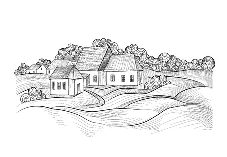 Sketch of rural landscape with hills, fields and countryhouse. Skyline with coundtry houses and farm buildings Illustration