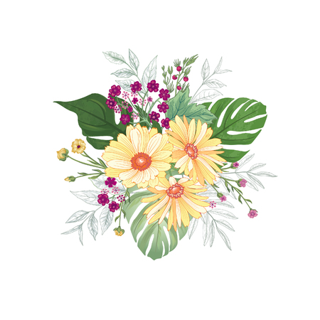 Flower bouquet over white background. Floral pattern for greeting card design. Garden Flowers drawing.