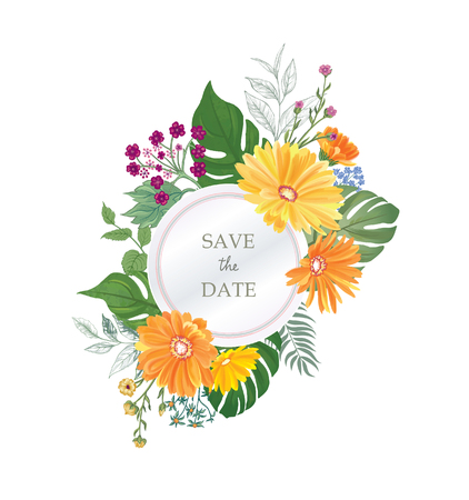 Floral greeting card. Flower frame over white background. Floral design for invitation, wedding, birthday. Illustration