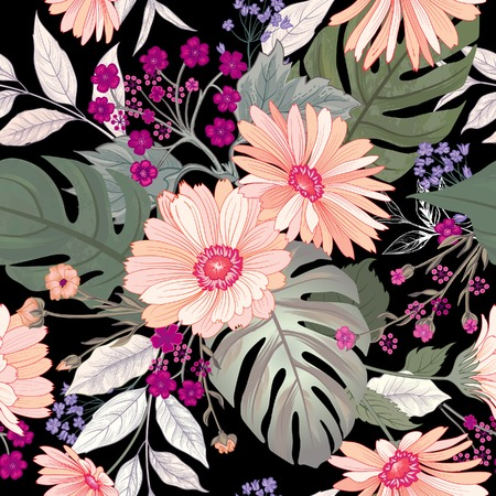 Floral seamless pattern. Garden Flower bouquet summer nature background. Flourish garden texture with flowers and leaves. Illustration