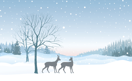 Christmas background. Snow winter landscape skyline with deers.  Retro Merry Christmas wallpaper design.