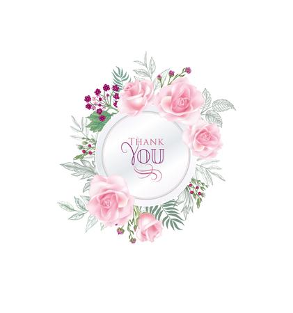 Floral greeting card. Flower rose frame over white background. Floral design for invitation, wedding, birthday.