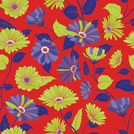 Floral pattern. Flower marigold seamless background. Flourish ornamental garden
