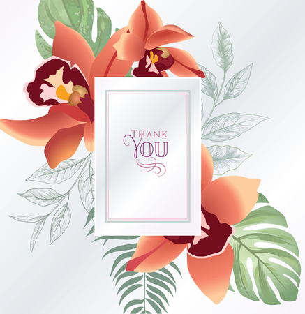 Floral greeting card. Flower  frame over white background. Floral design for invitation, wedding, birthday.