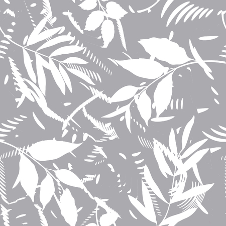 Floral seamless pattern with abstract shaped and leaves. Artistic drawn background Illustration