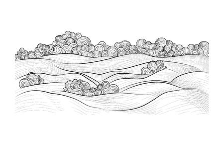Rural landscape. Countryside nature skyline background. Doodle hand drawn line art sketch