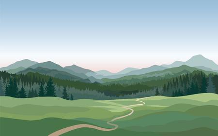 Ländliche Landschaft mit Bergen, Hügeln, Feldern. Landschaft Natur Skyline Hintergrund
