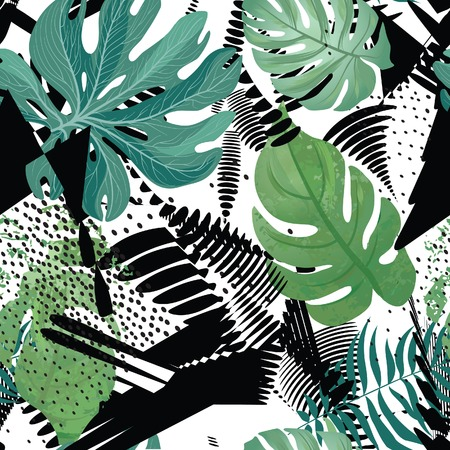 Floral seamless pattern. Tropical leaves tile art drawing background. Abstract dotted wallpaper for your design