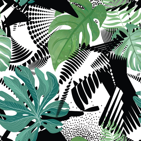 Floral seamless pattern. Tropical leaves over abstract painting art background. Flourish wallpaper with leaf.