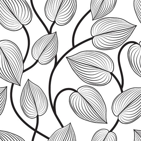 Floral seamless pattern. Leaves background. Flourish garden leaf line art backdrop Illustration
