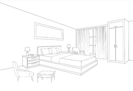 Interiore della mobilia della camera da letto. Disegno di schizzo della linea della stanza. Progettazione di interni per la casa. Prospettiva di uno spazio interno